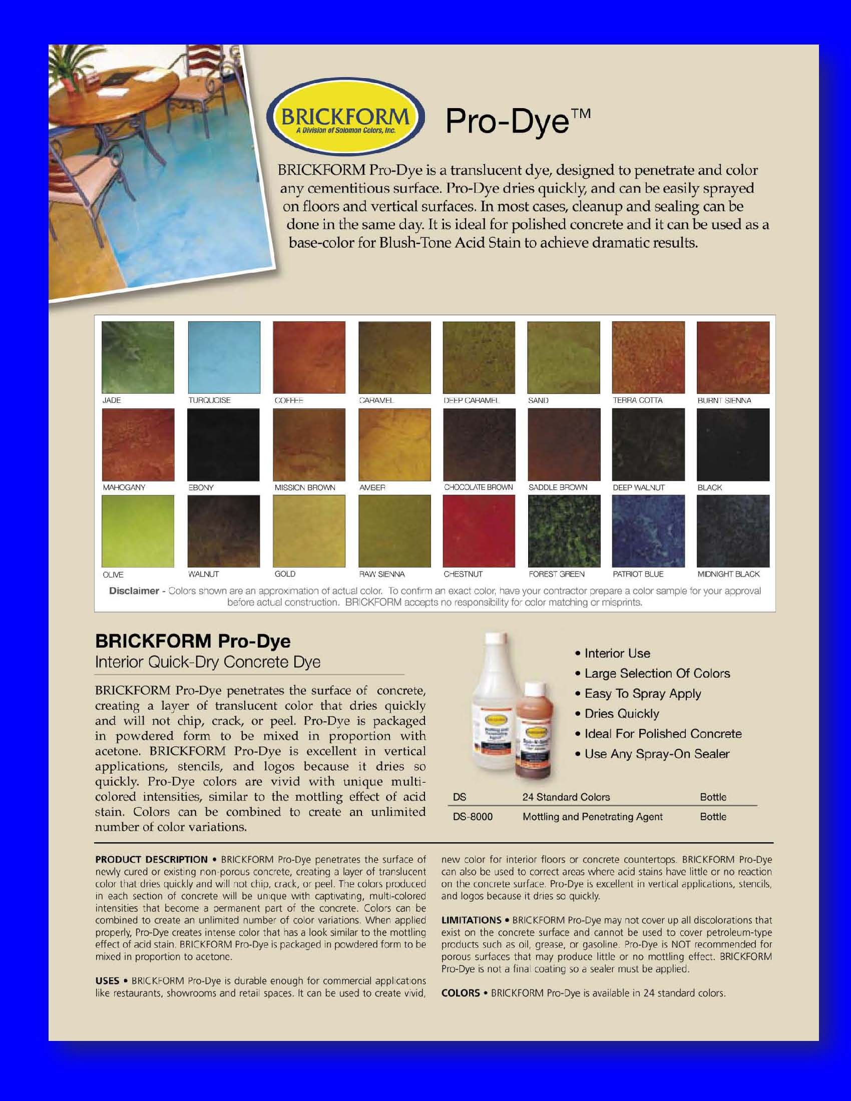 Brickform Color Chart Antaexpocoaching