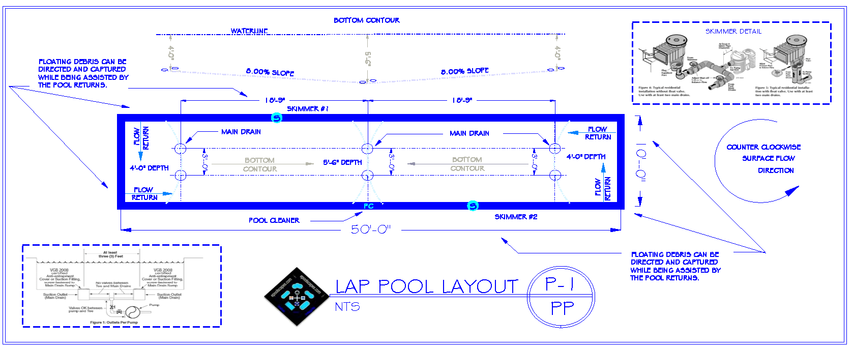 Lap Swimming Pool Bottom Contour