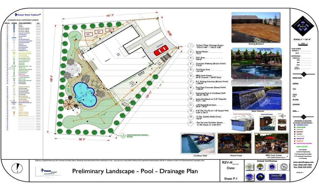 Pool estimate quote bid price 800 766 5259 for Sample landscape plan