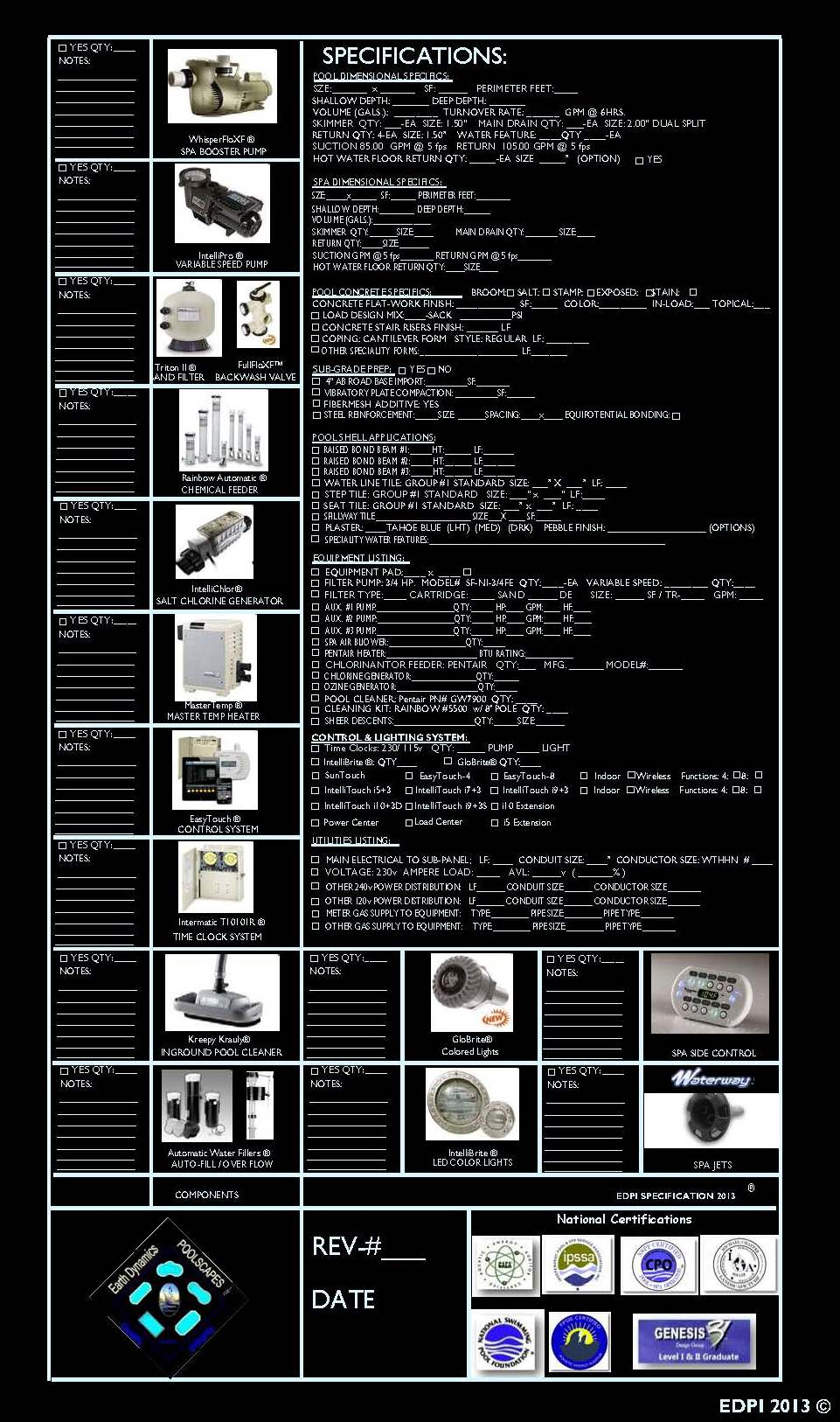 Swimming Pool Equipment Specifications