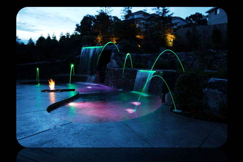 Fire Pit w-Water Fiber Optic - LED Color Changing Light